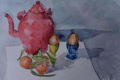 Tetera, mandarinas y huevos duros