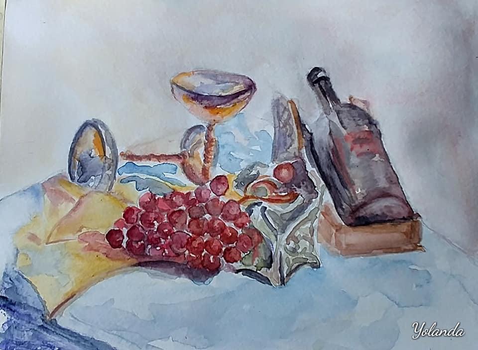 uvas, vino y copas