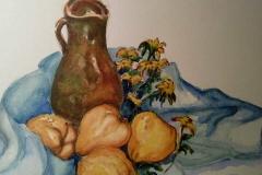 Jarrón, membrillos y margaritas