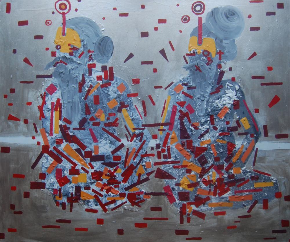dos figuras reflexionando sobre la naturaleza de la materia. acrílico sobre tabla