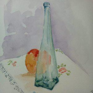 botella y melocotón