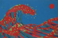 interpretacion de la gran ola de kanagawa. Témpera sobre papel